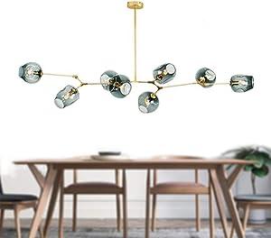 LUOLAX Modern Pendant Light Glass Chandelier with 8 Lights Fixture Hanging Semi Flush Mount DIY Lamp(8 Heads Gold-Gradient Blue)