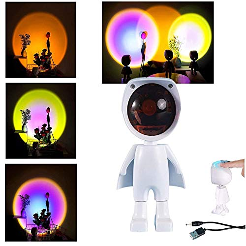 JAKROO Lámpara De Proyector Robot, Moderno Ajustable De 360 Grados Luz Nocturna, USB Rechargable, para Hogar Fiesta, Sala De Estar, Dormitorio Decoración