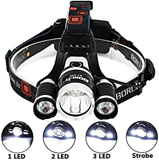 KAZOKU Bright Headlight Headlamp Flashlight Torch 3 CREE XM-L2 T6 LED with 4 PCS Rechargeable Batteries and Wall Charger for Hiking Camping Riding Fishing Hunting