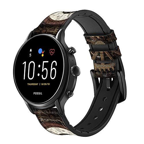 Innovedesire Steampunk Clock Gears Cinturino in Pelle e Silicone Smartwatch per Fossil Wristwatch Taglia (20mm)