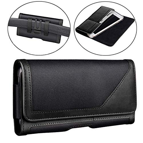 iPhone Xs MAX Holster Pouch, iPhone 11 Holster Belt Case with Clip/Loops Belt Pouch for iPhone 11 Pro Max/iPhone XR/iPhone 8 Plus 7 Plus 6s Plus 6 Plus(Fit w/Thin Case on) - Built in Card Slot (Black)