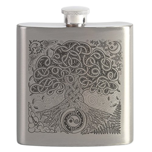 CafePress Celtic Tree Of Life Ink Flask Stainless Steel Flask, 6oz Drinking Flask