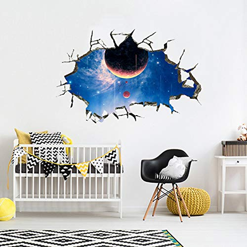 Adesivi E Murali Da Parete Muro Rotto 3D Vasto Galaxy Planetary Ballroom Museo Della Scienza E Della Tecnologia Boy Room Soggiorno Decorazione 36 * 55Cm