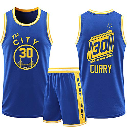Dybory Kid Men Basketball Jerseys Golden State Warriors # 30 Curry New Season Ropa De Entrenamiento Traje, Camiseta Transpirable Shorts Kits Top + Shorts 1 Juego,Azul,4XL