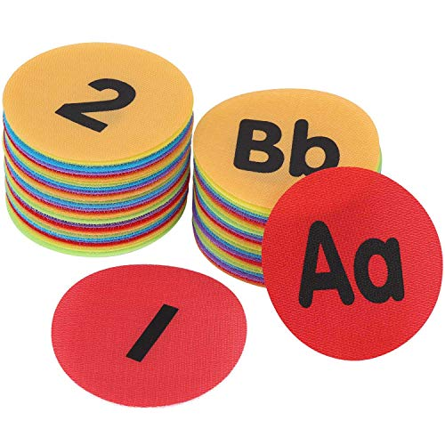 60 Pieces Carpet Spot Sit Markers, 4 inches Diameter Floor Dots Spots for School,Teachers,Classroom and Kids (1~34 Numbers and A~Z Alphabet)