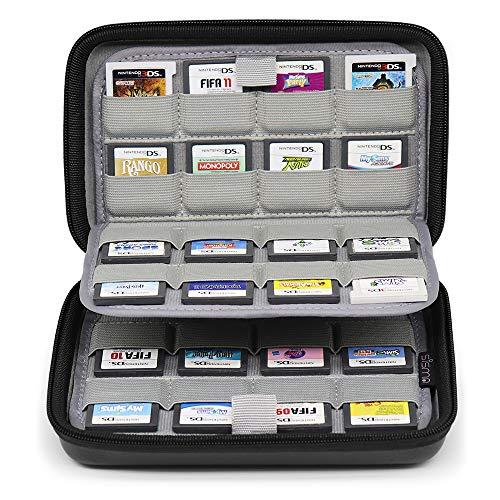 Sisma Custodia rigida per 64 cartucce di gioco Nintendo 3DS 2DS DS, Porta Giochi compatibile con Cartucce Nintendo Switch o Schede SD, Nero