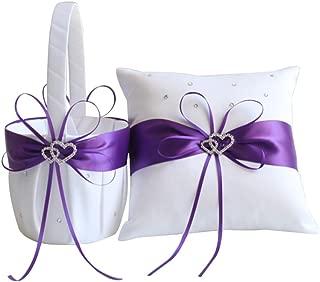 Awtlife 2pcs Sets Flower Girl Basket and Ring Pillow Purple Wedding Decor