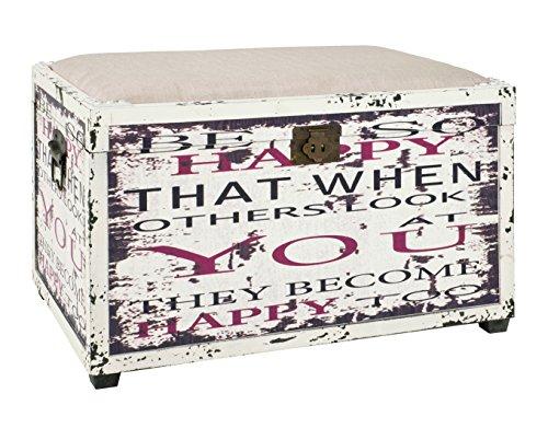 Haku Möbel caja de asiento - Tapizado con cuero artificial en blanco,...