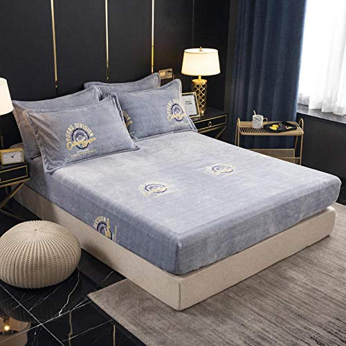 N / A King Size Fitted Extra Deep ,Thick crystal velvet warm non-slip double bed cover, winter mattress protector king-4_180x200cm