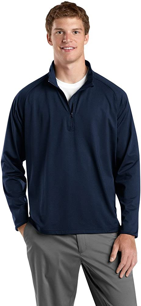 Sport-Tek Mens Sport-Wick Stretch 1/2-Zip Pullover, True Navy