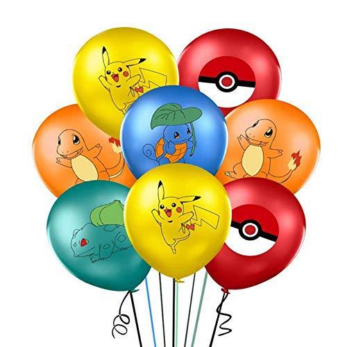 WENTS Globos de cumpleaños 40 Piezas Globos Globos Pikachu Globos Globos de látex Globos de Letras con Cintas y Pegatinas Transparentes para decoración de cumpleaños