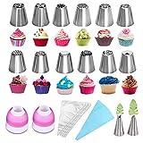 LUOWAN Set Decoración de Cupcakes 27pcs Boquillas Rusas de Repostería Boquillas pasteleras juego de acero inoxidable profesional Crema de la Torta de Cumpleaños de la Hornada Herramientas de Bricolaje