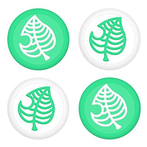 BRHE - Juego de 4 tapas de goma de silicona para mando Nintendo Switch/Switch Lite, de Joy-Con Joystick, tapas de goma de silicona para joystick, Verde (Green leaves)