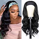 AISI QUEENS Long Wavy Headband Wigs for Women Black Curly Wave Wig Synthetic Heat Resistant Wig with Headband Attached for Daily Party Use 22inches