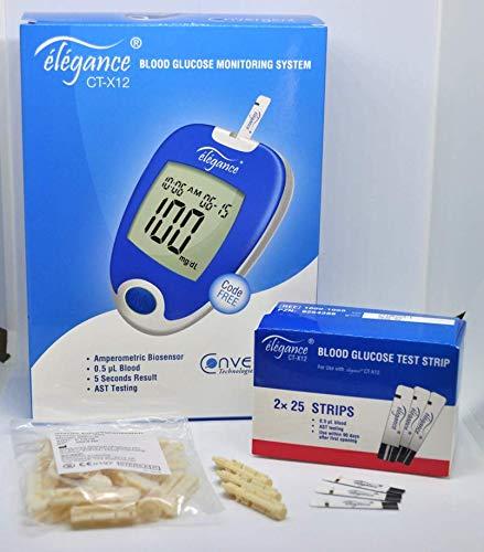 élégance CT-X12 Blutzucker Messsystem -Vorteils-Set- [Blutzuckermessgerät inkl. Stechhilfe, 75 Teststreifen und 75 Lanzetten]