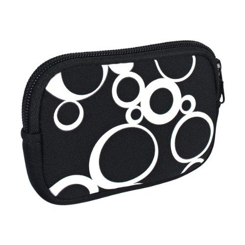 vyvy mobile® stylische Neopren Universal Kameratasche für Kompaktkameras Circles Schwarz