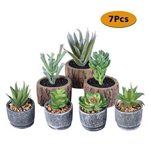Preisvergleich Produktbild SPDYCESS 7 Stück Künstliche Sukkulenten Pflanzen mit Töpfen - Klein Mini Kunstpflanze mit Topf Künstliche Blumen Bonsai für Hausgarten, Tische,  Balkon,  Büro Deko