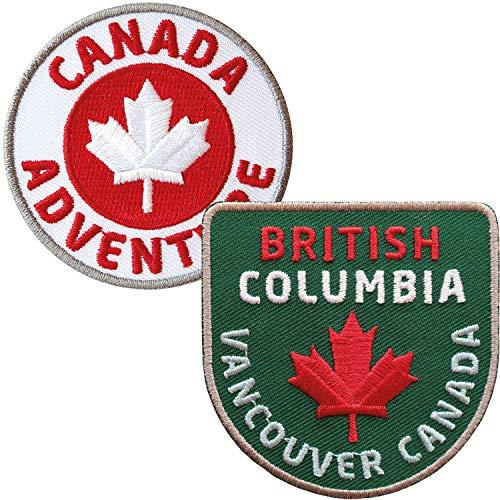 2er-Set Canada British Columbia Abzeichen gestickt 60 mm/Vancouver Kanada Nationalpark Ahorn Fahne Flagge Outdoor Reise Camping/Aufnäher Aufbügler Sticker Bügelbild Patch Reiseführer Karte Flagg