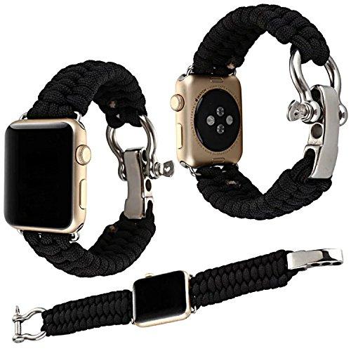 Qianyou Armband Kompatibel mit Apple Watch Series 3/2/1, 38mm Paracord Nylon Sport Erstatzband-Schwarz