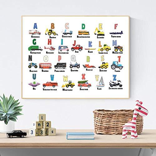 LZASMMVP Alphabet Cars ABC Letters Educativo Nursery Wall Art Canvas Poster Vehículo Transporte Pintura Niños Regalo Decoración de la habitación de los niños | 45x60cm Sin Marco
