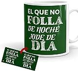 Kembilove Tazas de Desayuno CREA – Tazas de Café Divertidas y Graciosas con Mensaje El Que no folla de Noche, jode de día...