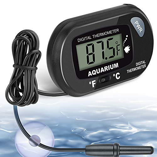 Aquarium Thermometer, Fish Tank Thermometer, Water Thermometer with LCD Display Fahrenheit/Celsius(℉/℃) for Vehicle Reptile Terrarium Fish Tank Refrigerator by AikTryee
