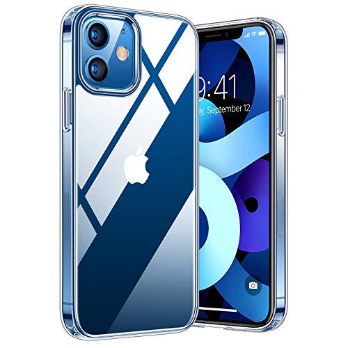 TORRAS Diamond Series Hülle Kompatibel mit iPhone 12 Mini Hülle, Vergilbungsfrei Durchsichtig Handyhülle Hard PC Back und Soft Silikon Bumper Case - Transparent