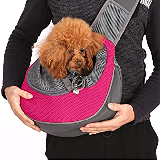 Lovefish Pet Dog Sling Carrier, Small Dog Outdoor Travel Bag Hands Free Front Pack Chest Carrier with Breathable Mesh Pouch for Puppy Cat Small Dog(Pink, 6lb) 16