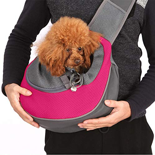 Lovefish Pet Dog Sling Carrier, Small Dog Outdoor Travel Bag Hands Free Front Pack Chest Carrier with Breathable Mesh Pouch for Puppy Cat Small Dog(Pink, 6lb) 1