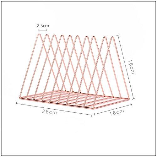 KSUNGB Petite bibliothèque Métal Bureau Bureau Triangulaire Finition de Document Étagère de Rangement Étude Lron Art 26 * 18 * 18 cm,Pink