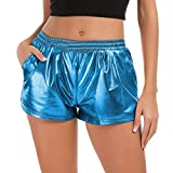 TWIFER Damen Hohe Taille Yoga Sport Shorts 2019 Sommer Kurz Hosen Shiny Hotpants Metallic Leggings...