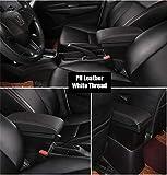 Apoyabrazos para coche Apoyabrazos Caja for Peugeot 2008 reposabrazos contenedor de almacenamiento USB de la caja de carga de la PU de cuero Negro (Color Name : Black white thread)