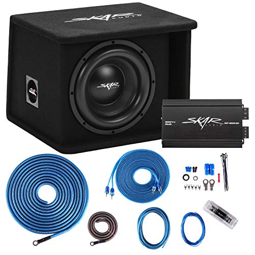 """Skar Audio Single 10"""" Complete 1, 200 Watt Sdr Series Subwoofer Bass Package - Includes Loaded Enclosure with Amplifier"""
