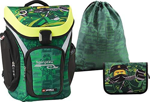 LEGO Bags Schulranzen Set Explorer NINJAGO Energy, 3 teilig, Ranzen nur 1,27 kg, Schulset mit Lego Motiv, Büchertasche ca. 41 x 28 x 25 cm, 29 Liter, Ranzenset mit Federmappe gefüllt und Sportbeutel