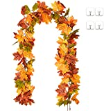 YQing 2 Stück künstliche Ahornblätter Girlande, 173cm/Stück Herbstblätter Reben Seide Ahornblatt Girlande Hängepflanze für Zuhause Küche Erntedankfest Herbstdeko Hochzeit Dekoration