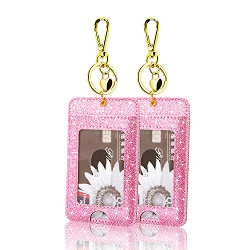 [2 Pack] ID Badge Holder, ACdream ID Badge Clip Key Chain Holder, PU Leather ID Badge Reel Clip Card Holder with Key Ring, Metal Clip, 2 Card Pockets, (ID Badge Clip Key Chain Holder, Glitter Pink)
