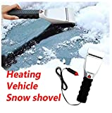 Evangelia.YM 12V Electric Heated Snow Brush Mover Ice Scraper with Non-Slip Grip...