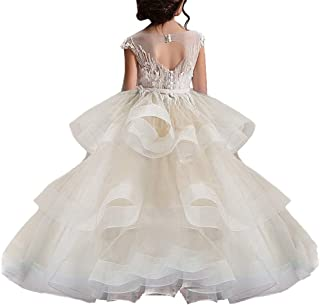 WDE Long Little Girls Pageant Dresses for Wedding Kids First Communion Prom Ball Gown