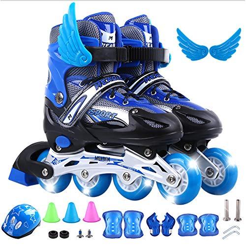 KOUDYEN Verstellbare Inliner Größe 30-42 Inline Skates Kinder mit beleuchteten Rädern Rollschuhe für Jungen Mädchen Anfänger Damen Herren