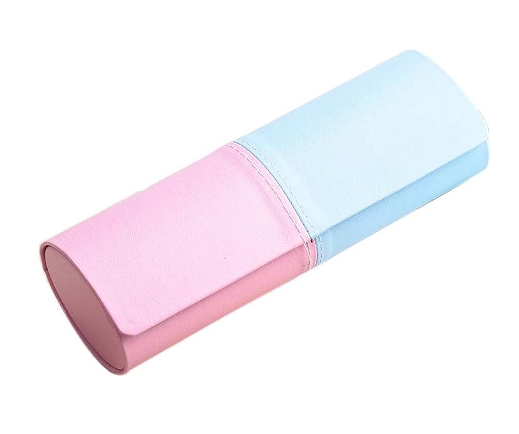 樫の木死ぬピニオンメガネケース抗押し出しメガネ収納ボックス眼鏡ケース、ブルーとピンク