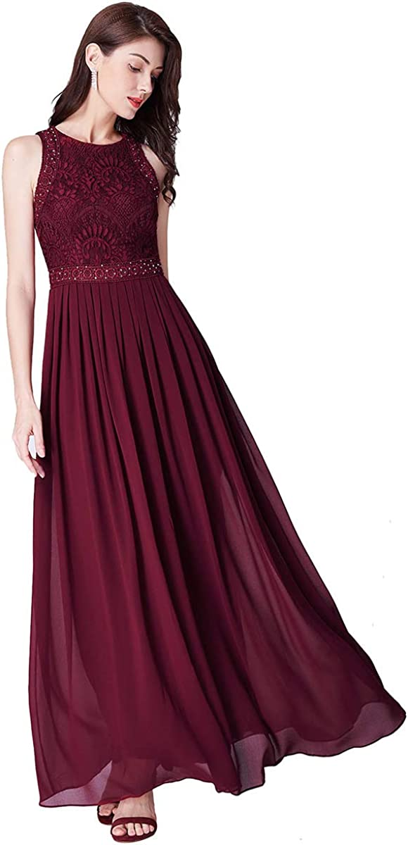 Alisapan Womens Lace Sleeveless Long Formal Evening Prom Dresses 7391