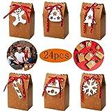 24 Pieces Kraft de Cajas de Dulces de Navidad, Hombre de Pan de Jengibre, árbol de Navidad, Campanas, Copos de Nieve, Bastones de Caramelo, Medias de Navidad, Bolsas de Papel de Estilo Navideño