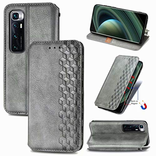ZXL Xiaomi Mi 10 Ultra Flip Case,3D Bling Retro Book Style Wallet Case Card Slots Kickstand Phone Case with Magnetic Protective Cover for Xiaomi Mi 10 Ultra Grey