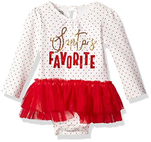 Mud Pie Baby Girls' Santa's Favorite Skirted Mesh Tutu Long Sleeve Crawler, red, 6-9 MOS