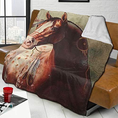 DPQZ Sherpa - Manta de forro polar para cama/sofá (152 x 122 cm), diseño de caballo indio
