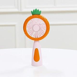 Kcibyvx - Ventilador de mano con diseño de piña y fruta, recargable por USB, con luz nocturna LED, 2 velocidades, ajustable, portátil, para coche, oficina, hogar, Naranja, P