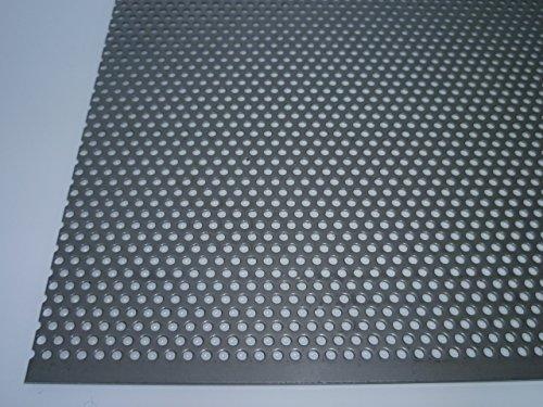 B&T Metall Loch-Blech 20x30cm   Blech-Zuschnitt 1,0mm stark, Rund-Lochung Ø 3mm versetzt RV 3-5   Edelstahl-Blech nach Maß, V2A, gelocht, blank gewalzt   Loch-Gitter 1.4301, rostfrei