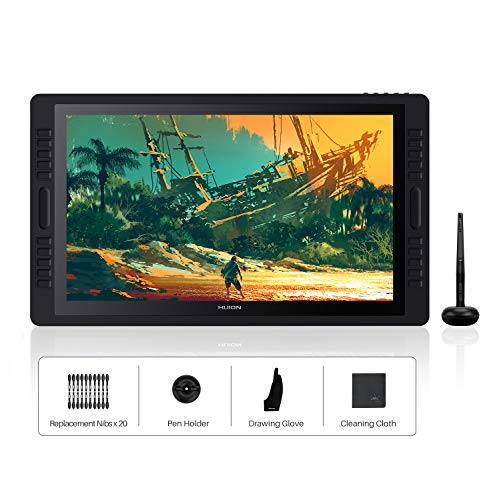 HUION Kamvas Pro 22(2019) 21.5-Zoll-Volllaminierter blendfreier Glas-Bildschirm Grafik-Display mit 20 Hotkeys und 2 Touch-Leisten und verstellbarem Ständer