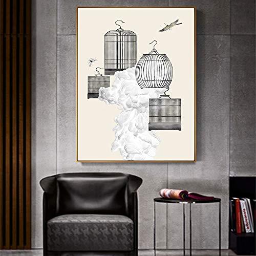 Lunderliny Leinwand Gemälde minimalistischen Vogelkäfig Poster und Drucke Wand Bild für die Wohnzimmerwand Kunst Dekoration Bilder 70x100cm