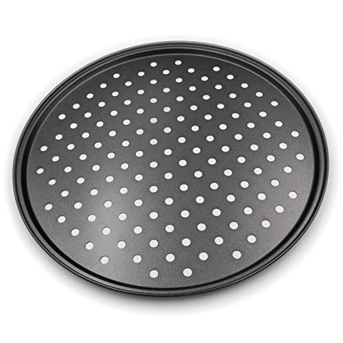 Pizza Crisper PanNonStick Carbon Steel Tray Pizza Pan with Holes12 inch Pizza Pan,Outer edge is 12 5/8 inch in diameter